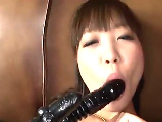 Horny oriental gets wet with vibrator