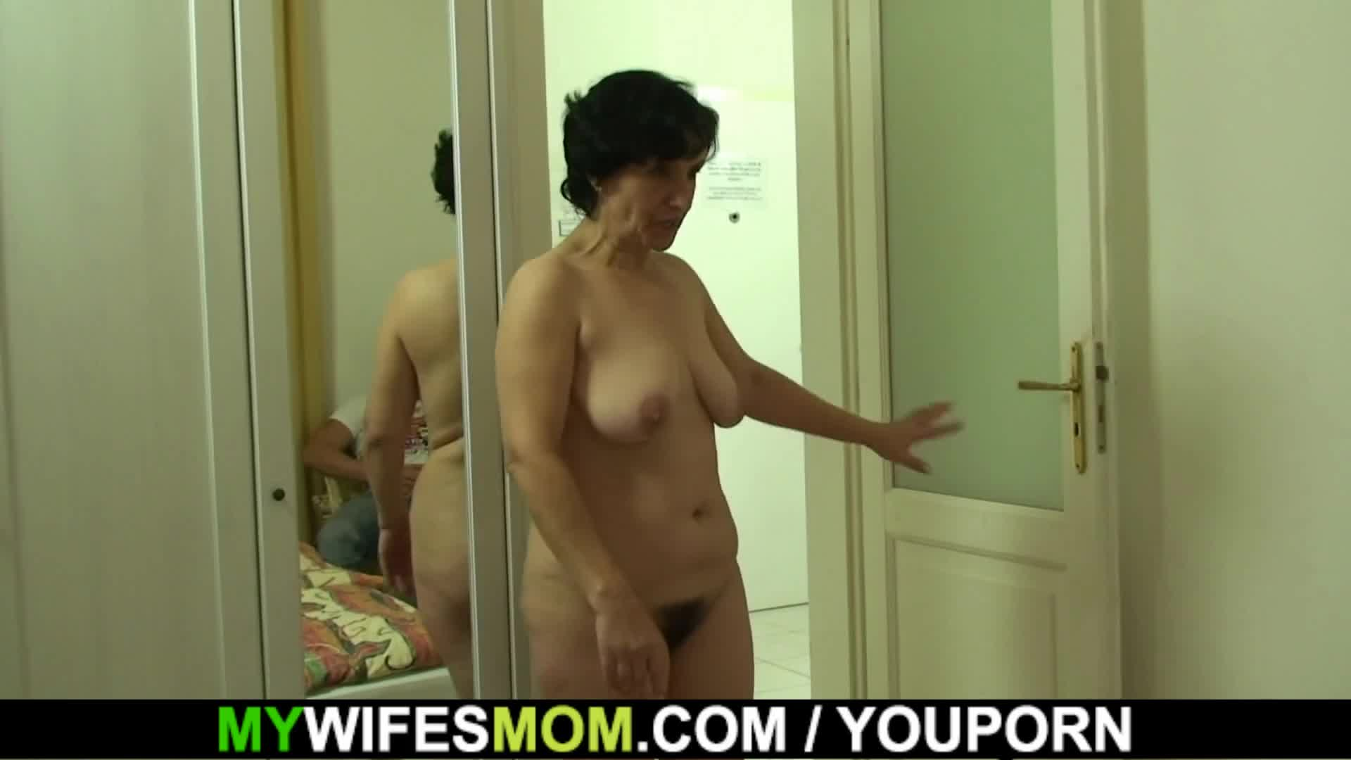 Hairy pussy old mother in law  and boy sex