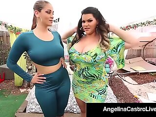 Cubansk rund Angelina Castro porks ms. raquel med strap-on!