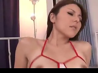 Asian Girl With Tiny Tits Getting Her Hairy Pussy Fucked Doggy On The Bed