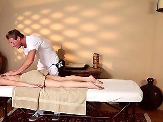 pretty blonde girl gets massaged
