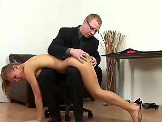 Spanking his lazy secretary