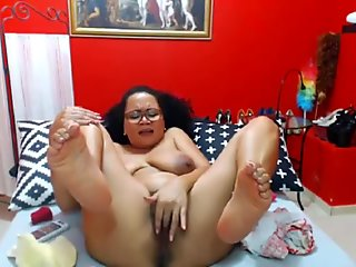 Sophisticated cougar with hairy hot pussy