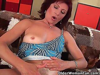Granny With rock hard puffies And Hirsute vulva Masturbates