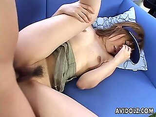 Poker hat wearing Asian getting fucked by her man