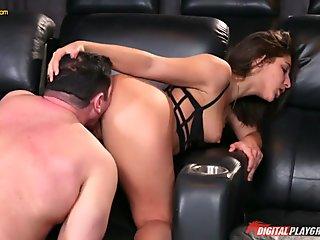 Sinful girlfriend Abella Danger is having dirty sex with boyfriend's stepdad