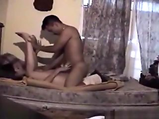 Latina with hairy pussy has doggystyle and missionary sex