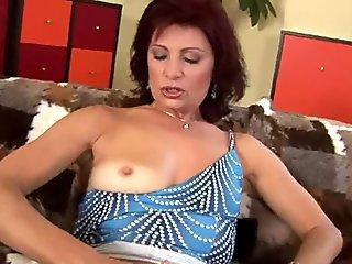 Mature with hard nipples finger fucks