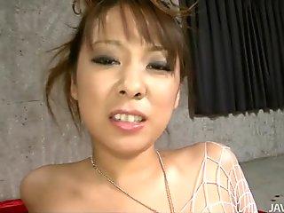 Messy facial an dildoing course for splendid brunette Japanese MILF