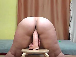 young beautiful bbw, jumping on a huge dildo!