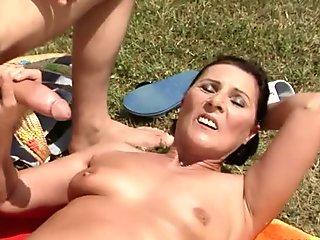 Kinky young dude enjoys fucking his overaged neighbor outdoor