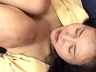 Japanese mommy loves a young meat in her mouth and hairy slit