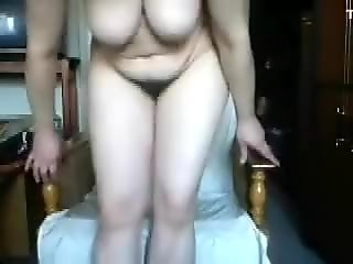 Hairy mature woman with saggy tits