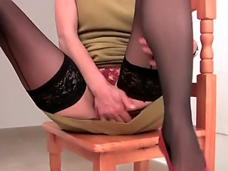 Hairy Emanuelle in black stockings