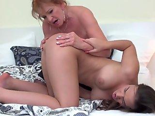 Sweet daughter fucks hairy lesbian granny