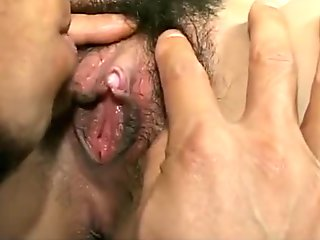 sexy Japanese chick gets her hairy pink pussy licked and fucked