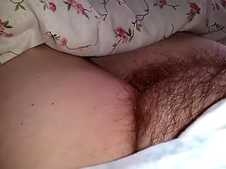 revealing her tired soft hairy pussy & belly before awakens