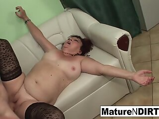 Insatiable mature fucks two guys in a row
